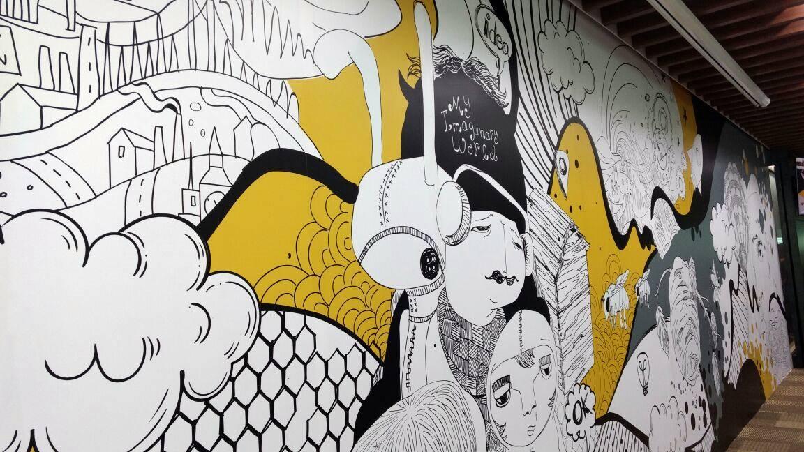Mural di Apiary Coworking Space Jakarta